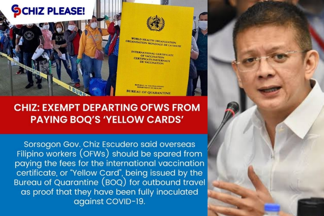 CHIZ: EXEMPT DEPARTING OFWS FROM PAYING BOQ'S 'YELLOW CARDS'