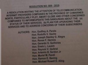Mga bokal sa Camarines Norte hihimukin ang mga Internet service providers na pagbutihin pa ang kanilang serbisyo; isang resolusyon inihain!